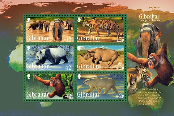 Endangered Animals Miniature Sheet Stamps 2011 Gibraltar